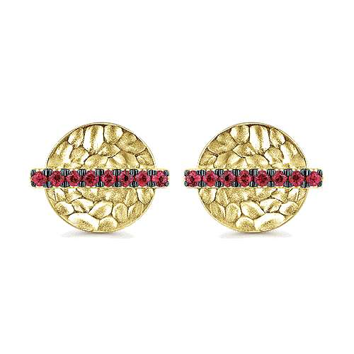 14k Yellow Gold  And Ruby Stud
