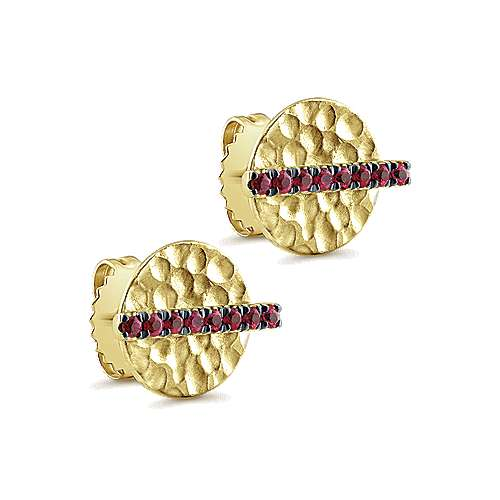 14k Yellow Gold  And Ruby Stud Earrings angle 2