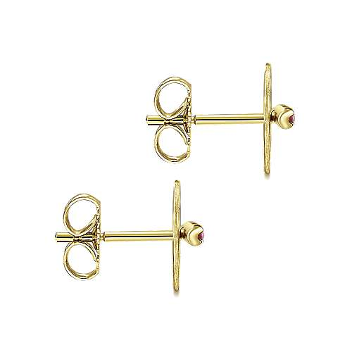 14k Yellow Gold  And Ruby Stud Earrings angle 3