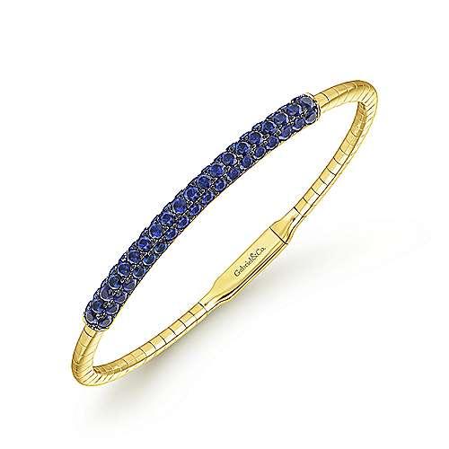14k Yellow Gold  And Sapphire Bangle angle 2