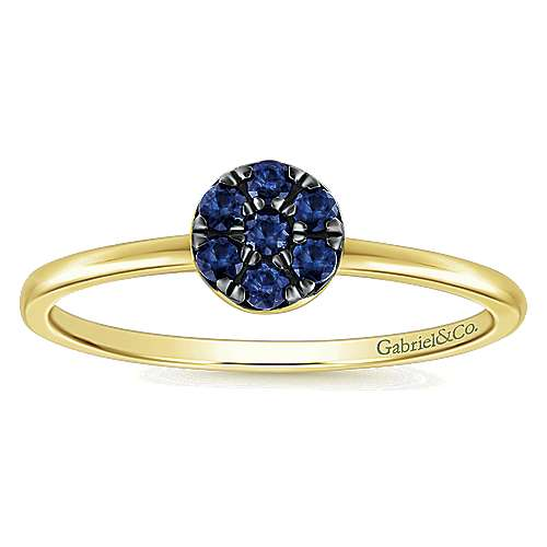 14k Yellow Gold  And Sapphire Fashion Ladies