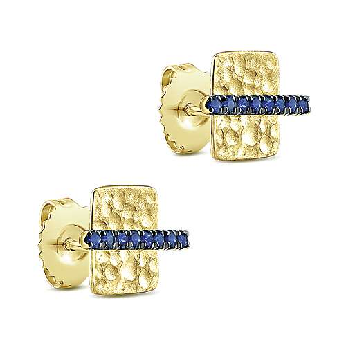 14k Yellow Gold  And Sapphire Stud Earrings angle 2
