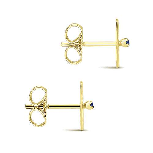 14k Yellow Gold  And Sapphire Stud Earrings angle 3