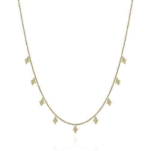 Gabriel - 14k Yellow Gold 17.5inch Diamond Station Necklace