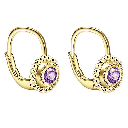 14k Yellow Gold Amethyst Drop Earrings angle 2