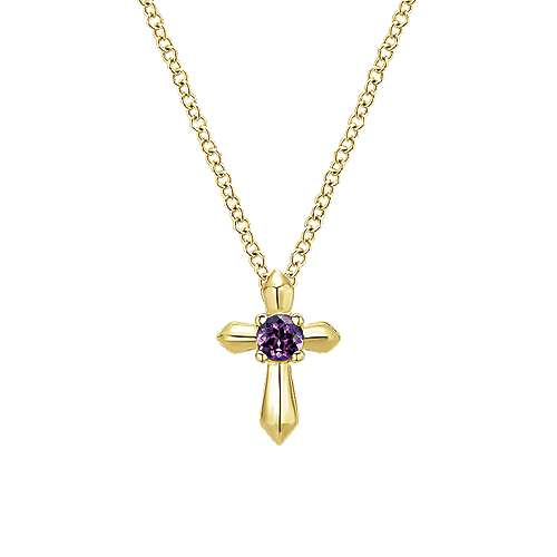 14k Yellow Gold Amethyst Fashion Necklace angle 1