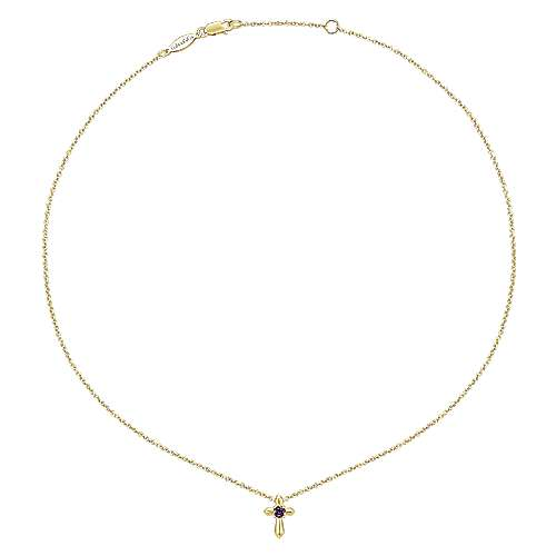 14k Yellow Gold Amethyst Fashion Necklace angle 2
