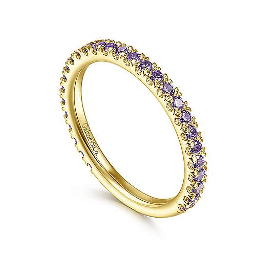 14k Yellow Gold Amethyst Stackable Ladies