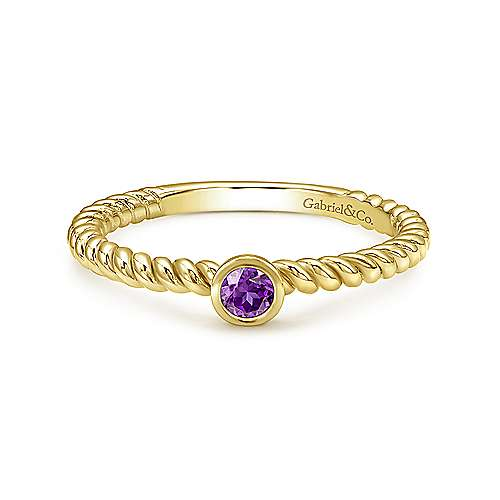 14k Yellow Gold Amethyst Stackable