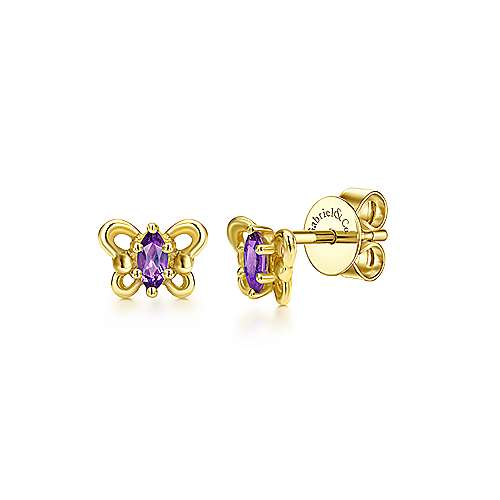 14k Yellow Gold Amethyst Stud