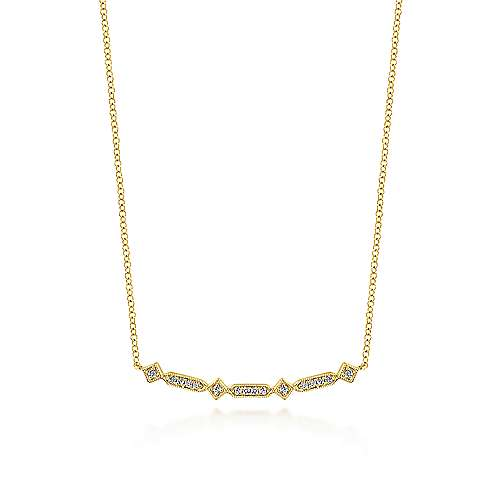 14k Yellow Gold Art Moderne Bar Necklace angle 1