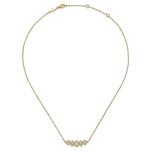 14k Yellow Gold Art Moderne Bar Necklace angle 2
