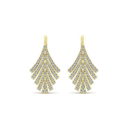 14k Yellow Gold Art Moderne Drop Earrings angle 1