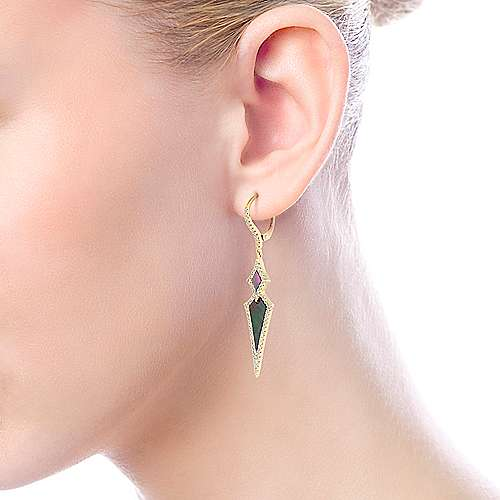 14k Yellow Gold Art Moderne Drop Earrings angle 4