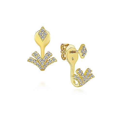 14k Yellow Gold Art Moderne Peek A Boo Earrings angle 1
