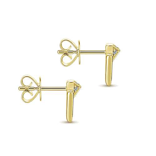 14k Yellow Gold Art Moderne Stud Earrings angle 3