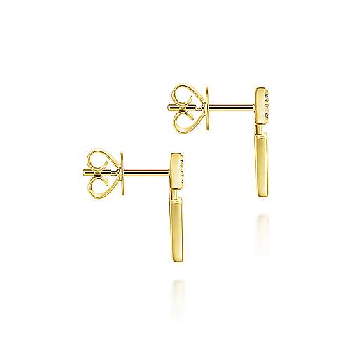 14k Yellow Gold Art Moderne Stud Earrings angle 3