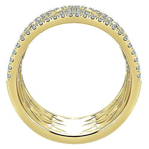 14k Yellow Gold Art Moderne Wide Band Ladies' Ring angle 2