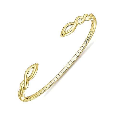 14k Yellow Gold Bangle angle 2