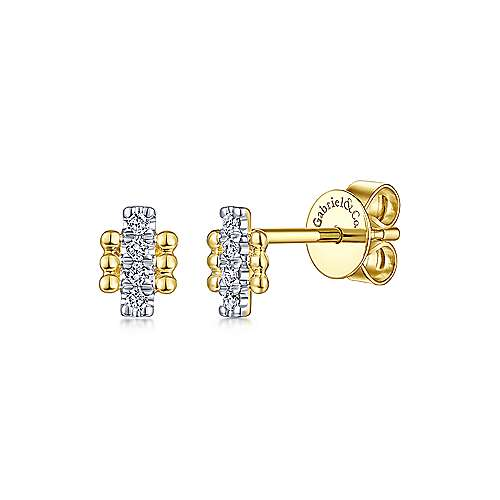 14k Yellow Gold Beaded Diamond Bar Stud Earrings