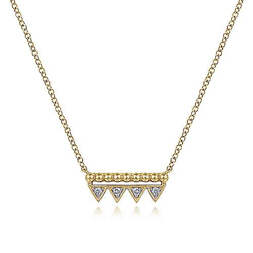 14k Yellow Gold Beaded Diamond Triangle Bar Necklace