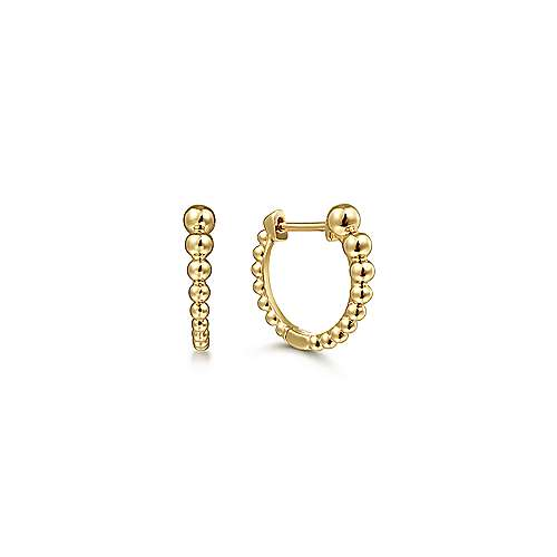14k Yellow Gold Beaded Huggie Earrings