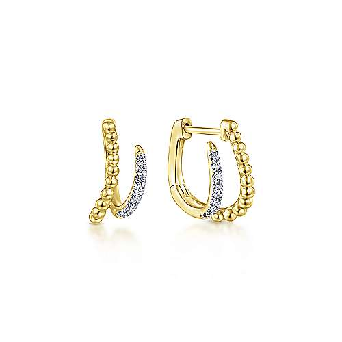 14k Yellow Gold Beaded Pave Diamond Huggie Earrings