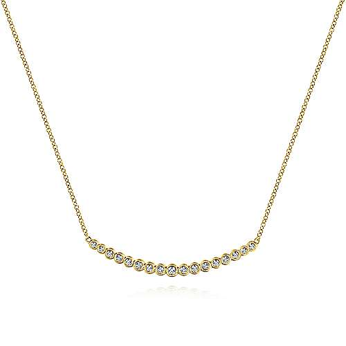 Gabriel - 14k Yellow Gold Bezel Set Diamond Bar Necklace