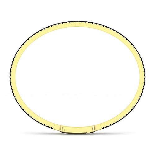 14k Yellow Gold Black Diamond Bangle angle 2