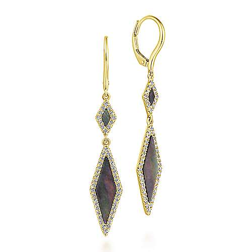 14k Yellow Gold Black Mother of Pearl Diamond Drop Earrings
