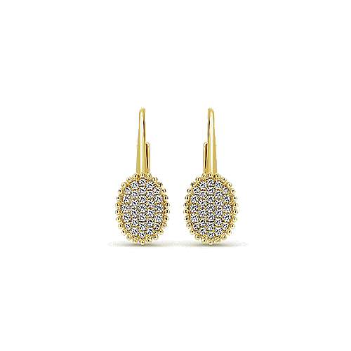 14k Yellow Gold Bombay Drop Earrings angle 1