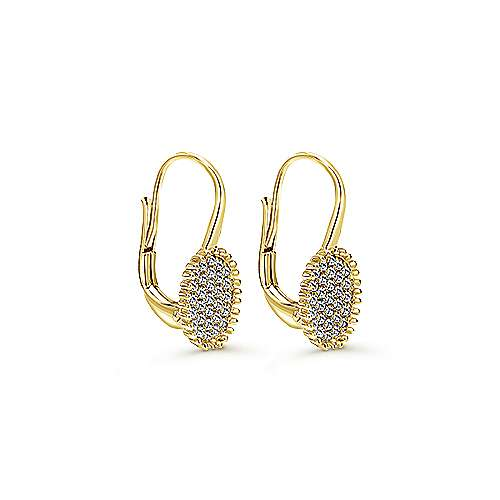 14k Yellow Gold Bombay Drop Earrings angle 2