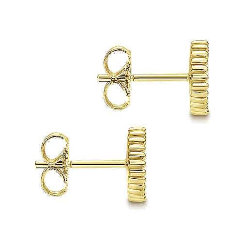 14k Yellow Gold Bombay Stud Earrings angle 3