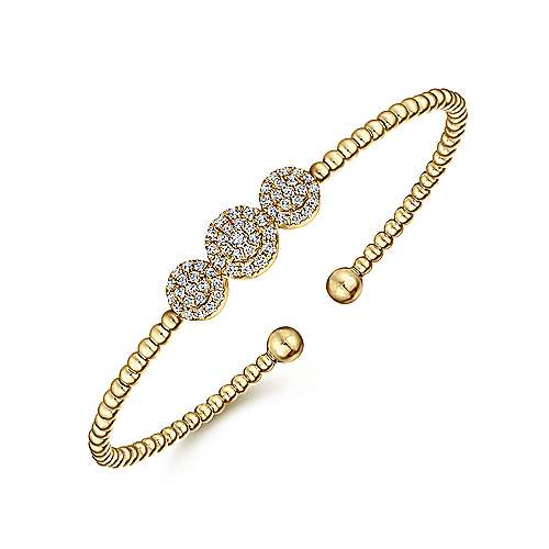 14k Yellow Gold Bujukan Bangle angle 2