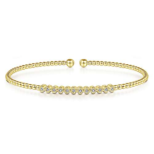 14k Yellow Gold Bujukan Bangle angle 1