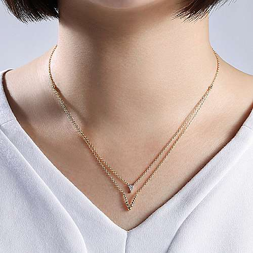 14k Yellow Gold Bujukan Fashion Necklace angle 3