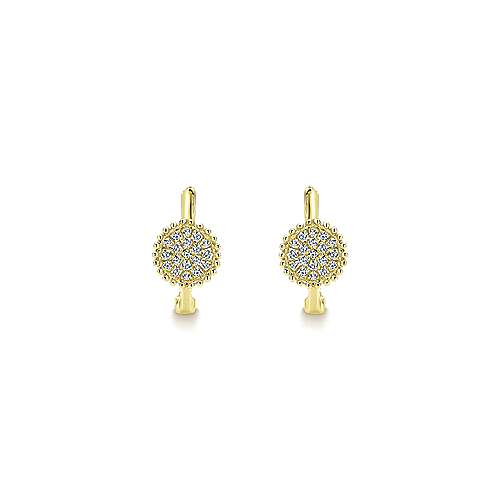 14k Yellow Gold Bujukan Huggie Earrings angle 3