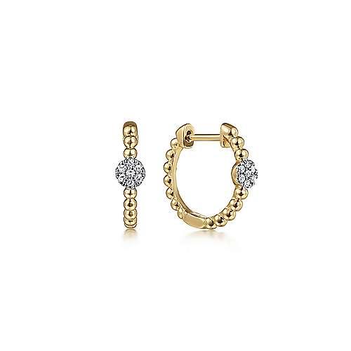 14k Yellow Gold Bujukan Huggie Earrings