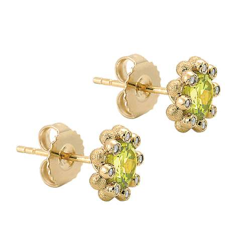 14k Yellow Gold Bujukan Stud Earrings angle 2