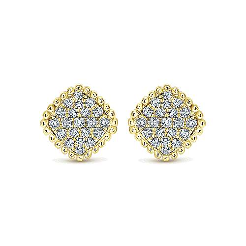 14k Yellow Gold Bujukan Stud Earrings angle 1