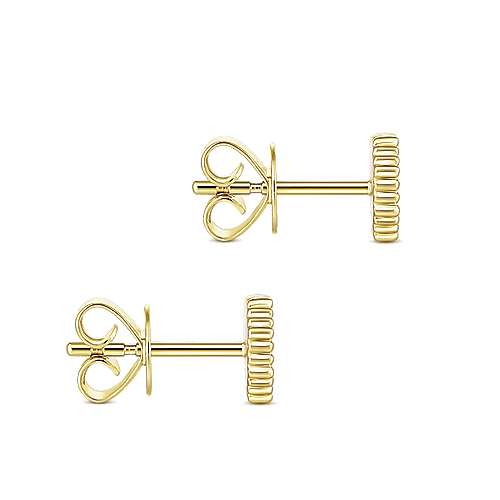 14k Yellow Gold Bujukan Stud Earrings angle 3
