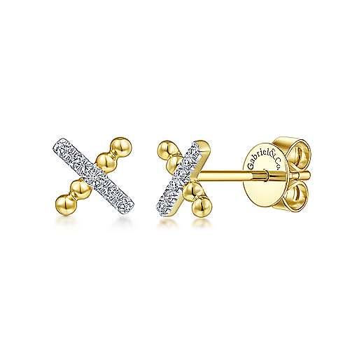 Gabriel - 14k Yellow Gold Bujukan Stud Earrings