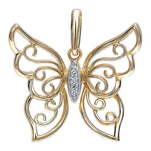 Gabriel - 14k Yellow Gold Butterfly Fashion Pendant