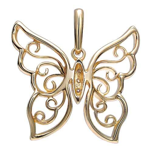 14k Yellow Gold Butterfly Fashion Pendant angle 2