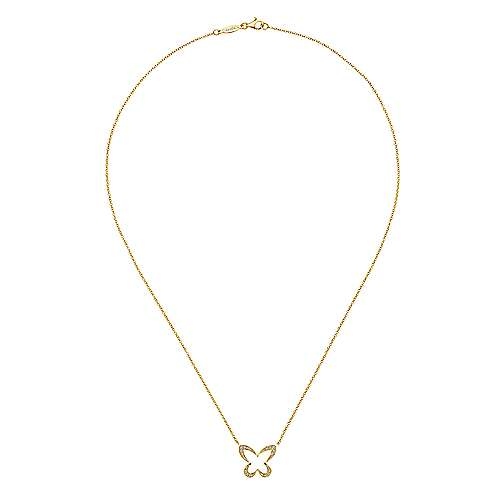 14k Yellow Gold Butterfly Necklace angle 2