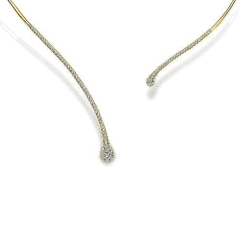 Gabriel - 14k Yellow Gold Cascade Choker Diamond Choker Necklace