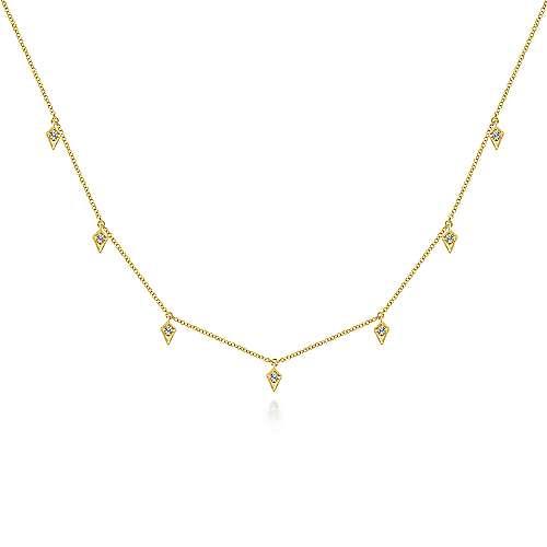 14k Yellow Gold Cascade Choker Station Necklace angle 1