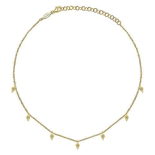 14k Yellow Gold Cascade Choker Station Necklace angle 2