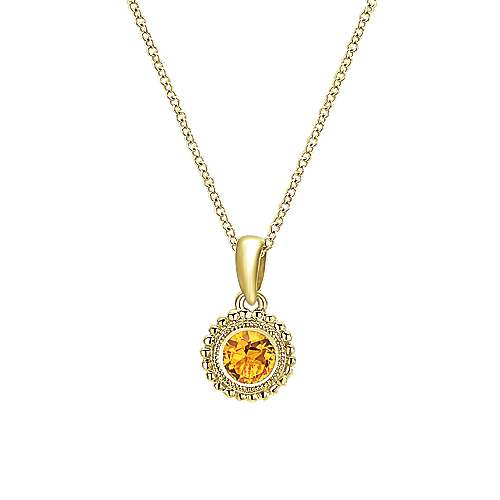 14k Yellow Gold Citrine Fashion Necklace angle 1