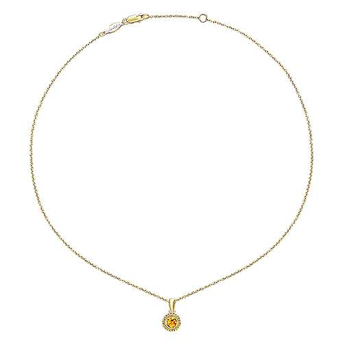 14k Yellow Gold Citrine Fashion Necklace angle 2